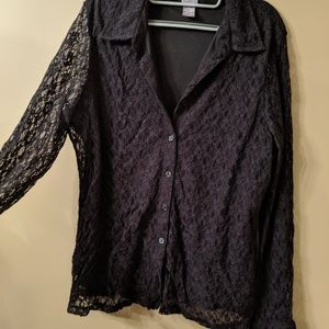 Black Button Down with Lace Sleeves